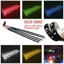 Tira de led flexível smd3528, 2 peças, à prova d' água, vermelho, verde, azul, branco, quente, branco, super brilhante, decoração automotiva lâmpada adesiva