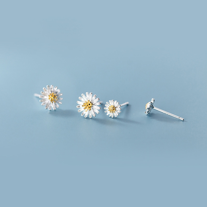 MloveAcc Real 925 Sterling Silver Daisy Sun Flower Earrings Stud For Women Girls Gift Hot Fashion Sterling-silver-jewelry