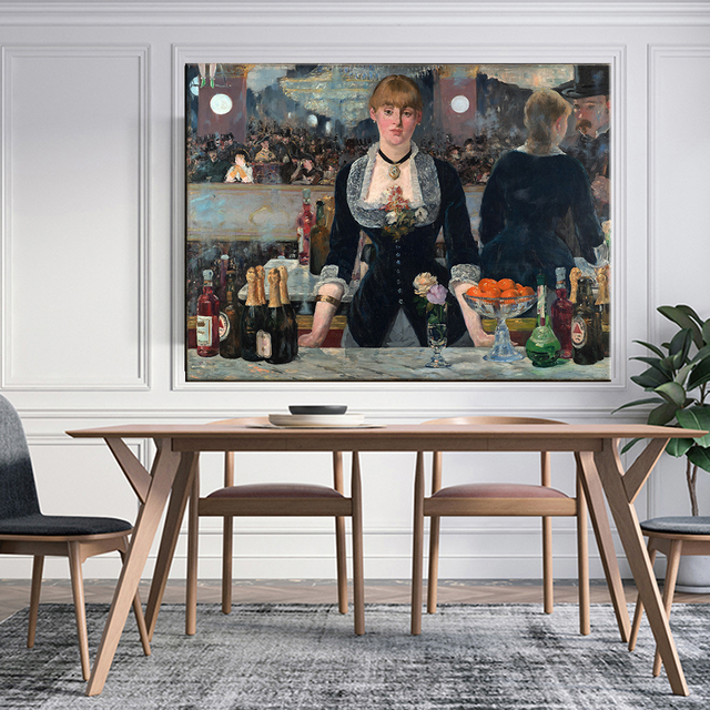 Edouard Manet A Bar At The Folies Oil Painting Canvas 5