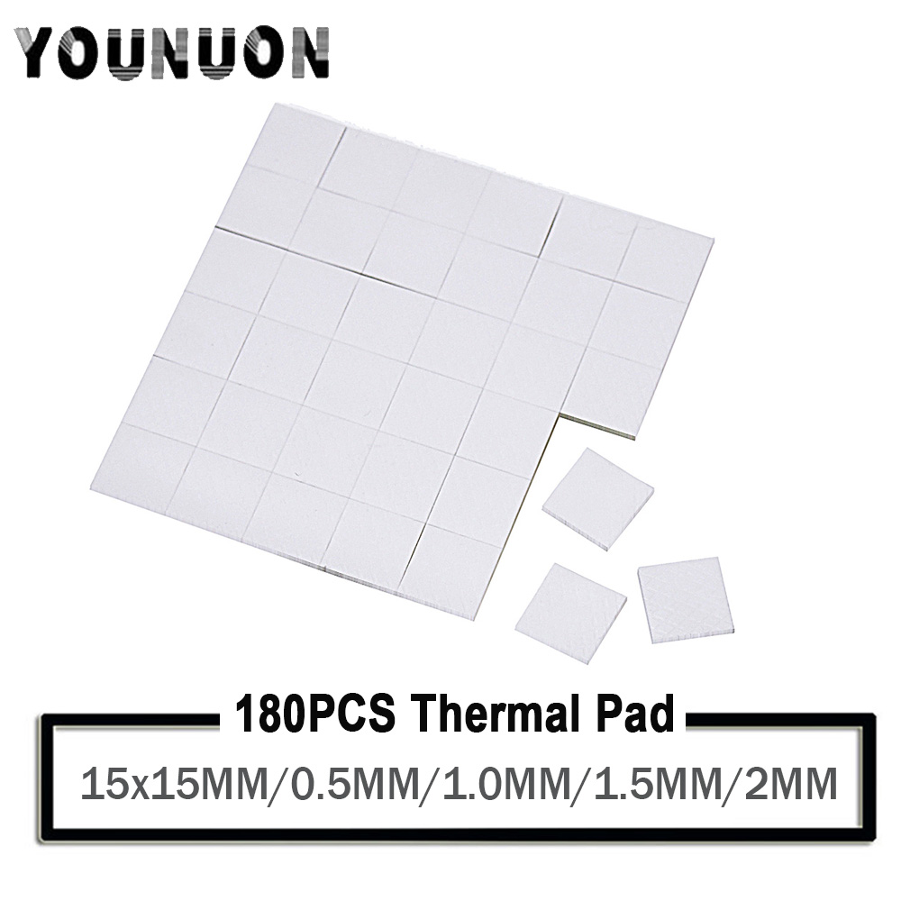 YOUNUON 180 Pieces <font><b>15x15mm</b></font> 0.5mm 1mm 1.5mm 2mm tichkess Thermal Pad CPU Heatsink Pad Cooling Conductive Silicone Thermal image