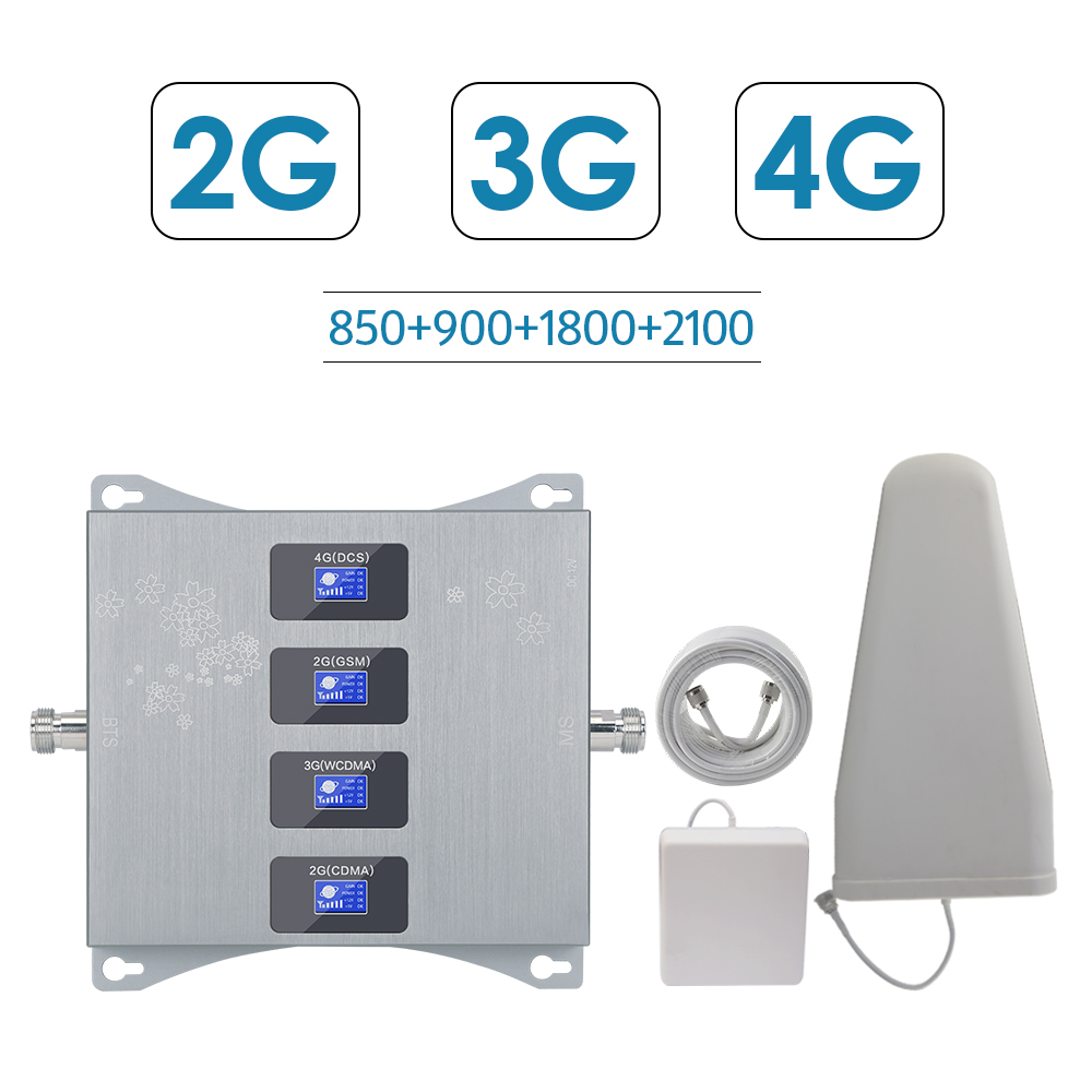 2g 3g 4g Quad Band Booster FOR Israel New Zealand 3g CDMA <font><b>850</b></font> 2g GSM 900 DCS 1800 WCDMA <font><b>2100</b></font> Signal Repeater 2g 3g 4g Amplifier image