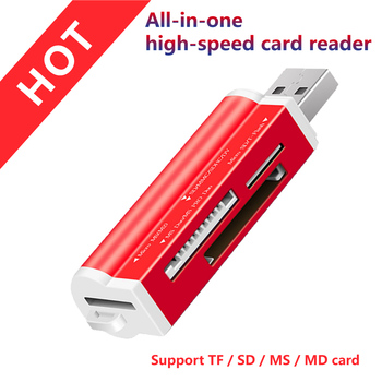 цена на Free shipping 4 in 1 Micro USB 2.0 Memory Card Reader usb Adapter for Micro SD card TF M2 MMC MS PRO DUO Card Reader