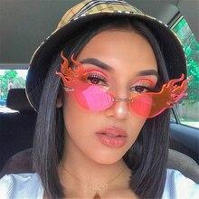 Brand Design Fire Flame Rimless Sunglasses Fashion Women Cat