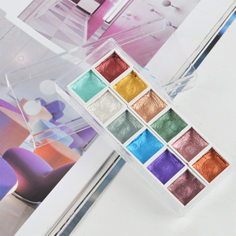 1set Pearlescent Solid Watercolor Paint For Beginner Painting Drawing Rich In Color Student Office Art Supplies 12 Colors