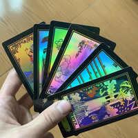 Holográfico tarô cartões de jogo de tabuleiro 78 pces brilhar cartões edição em inglês completo para regras inglês astrólogo