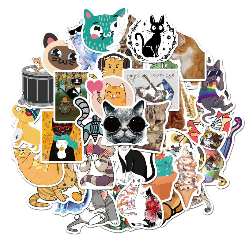 50 Pcs Cute Cats Animal Graffiti Sticker Mixed Style Toys For Suitcase Laptop Bike Luggage Car Scooter Skateboard Sticker LD