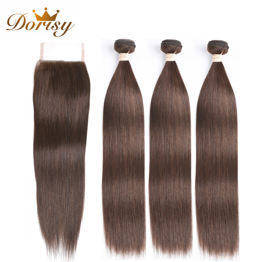 Light Brown Bundles With Closure Peruvian Hair Bundles With Closure Straight Human Hair With Closure Remy Hair Extensions