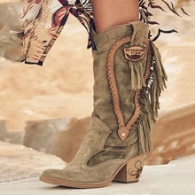 Buy 2019 Women's Ethnic Style Mid Tube High Heels Stylish Warm Boots Low Heel Suede Boots Long Fringe Winter Retro Embroidered Boot directly from merchant!