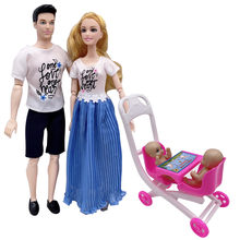 11.5 inch Barbies accessories family couple combination = dad + mom / doll double stroller children's puzzle play house toys(China)