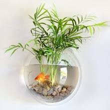1pcs Clear Hanging Wall Mounted Fish Bowl Aquaponic Tank Aqu