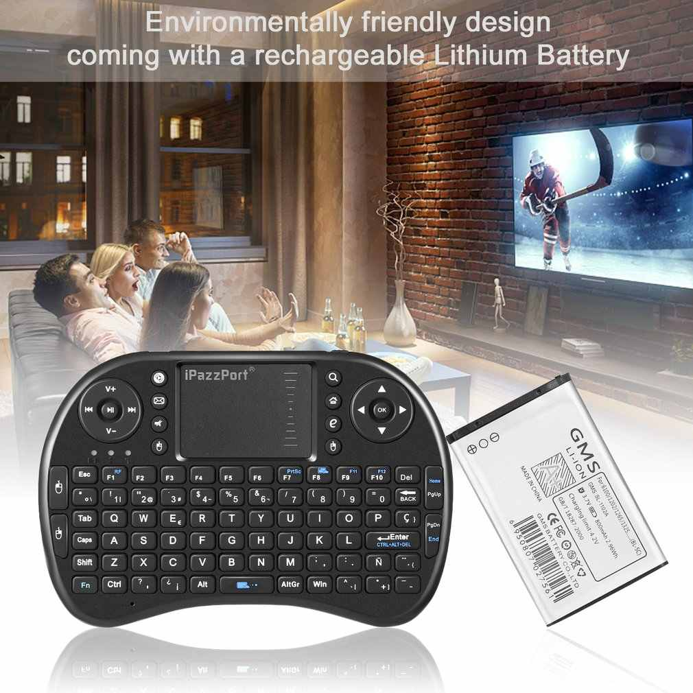2.4 GHZ Wireless Mini Backlight Touchpad Combo Keyboard dengan Mouse untuk PC/MAC/Android/Pad/TV box/HTPC/IPTV 92 Tombol