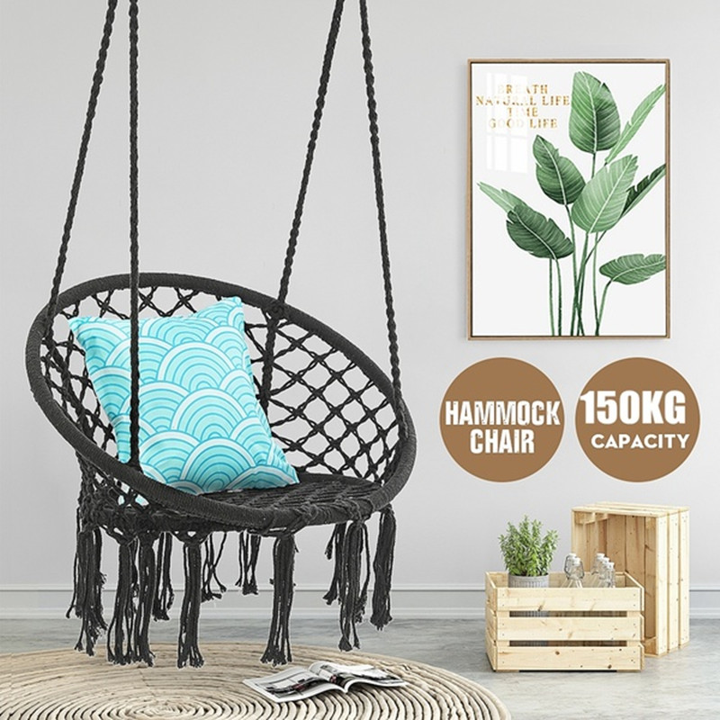 Hammock Chair Swing --- 330 Pound Capacity Handmade Knitted Hanging Cotton Rope Swing Chair For Indoor/Outdoor Home Patio Deck