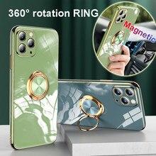 Chapeamento de luxo caso de silicone para iphone 12 11 pro xs max mini se x xr 7 8 plus iphone12 capa de telefone macio com suporte de anel