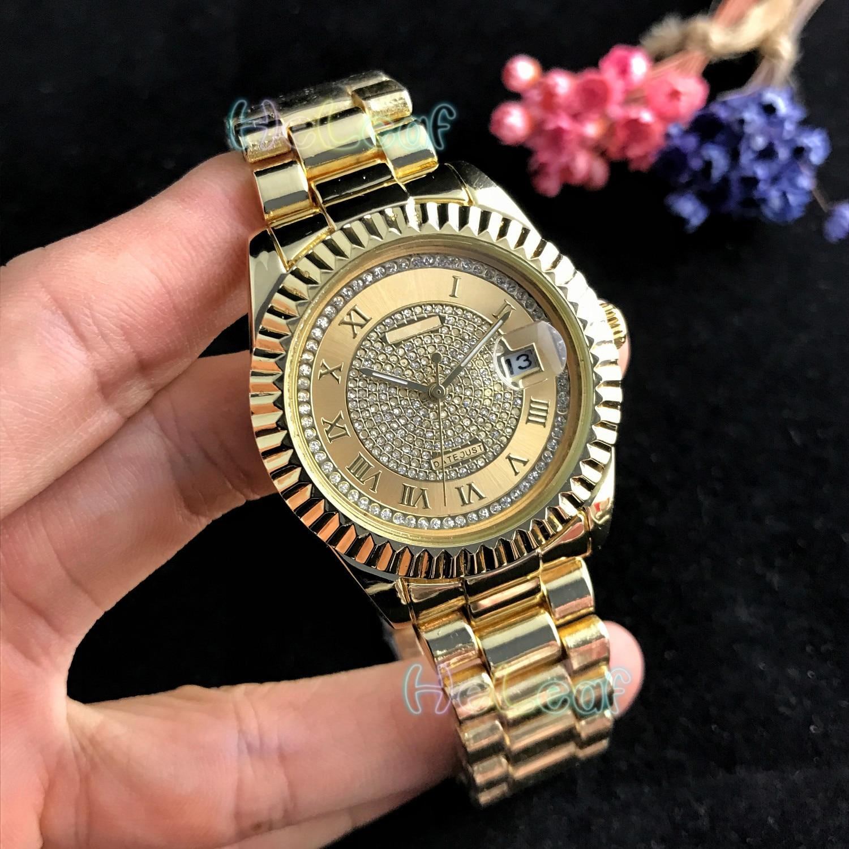 Women Watches Luxury Fashion Silver Gold Round Diamond Stainless Steel Band Quartz Watch Female Clock Montre Femme Reloj