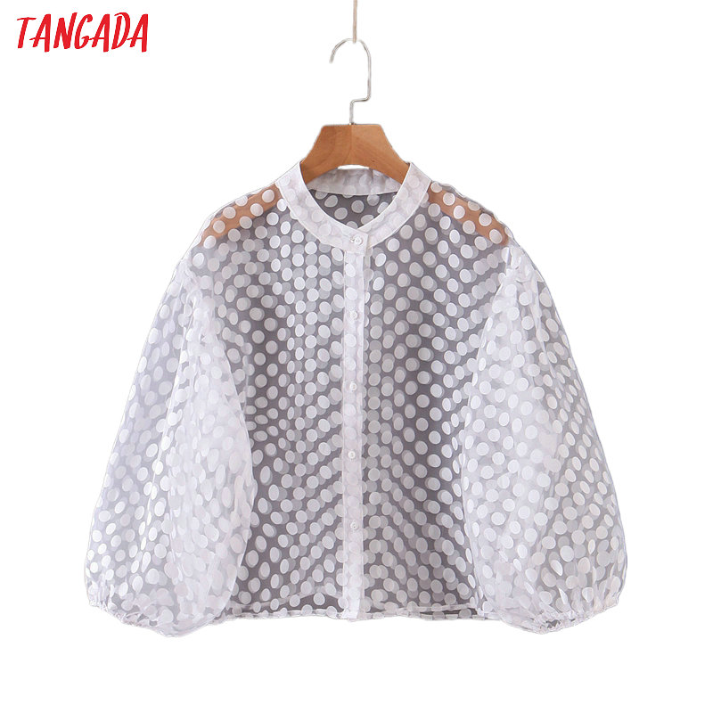 Tangada Women Dots Print White Mesh Blouse Sexy See Through Buttons Puff Long Sleeve Chic Female Shirt Blusas Tops SL305
