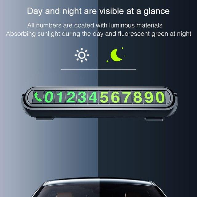2020 nueva pegatina luminosa para estacionamiento temporal de coche, ambientador de coche, placa de tarjetas de número de teléfono, aromaterapia para coche, accesorios