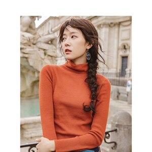 Image 5 - Инман осень 2018 г. новое поступление женский шерстяной Высокий воротник Fit диких моделей Тонкий пуловер свитер