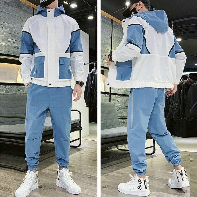 2020 Workwear Jacket Men's Hooded Jacket+Pants 2PC Sets Loose Hip Hop Tracksuit Mens Coat & Long Pants Mens Clothing Streetwear