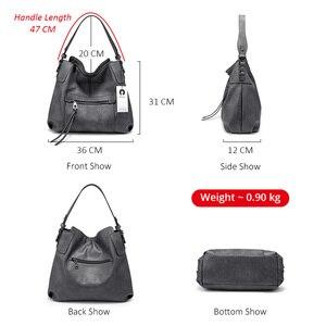 Image 3 - REALER kadın omuzdan askili çanta büyük hobos tote çanta çapraz postacı çantası kadınlar için 2019 lüks çanta PU deri gri el çantası
