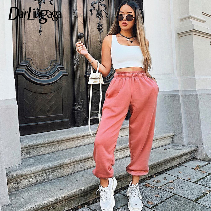 Darlingaga Casual Cotton Loose Solid Sweatpants Women High Waist Pants Streetwear Joggers Baggy Running Harem Pants Trousers New