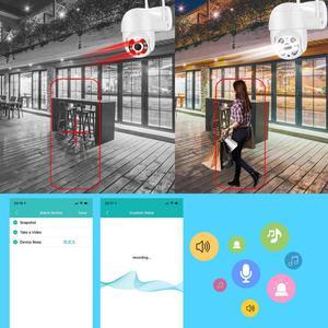 Image 4 - Câmera de vigilância externa IP WiFi, CCTV 1080P HD 3MP 4X Zoom PTZ, luz IR, com áudio e cores, detecção IA com alerta de segurança