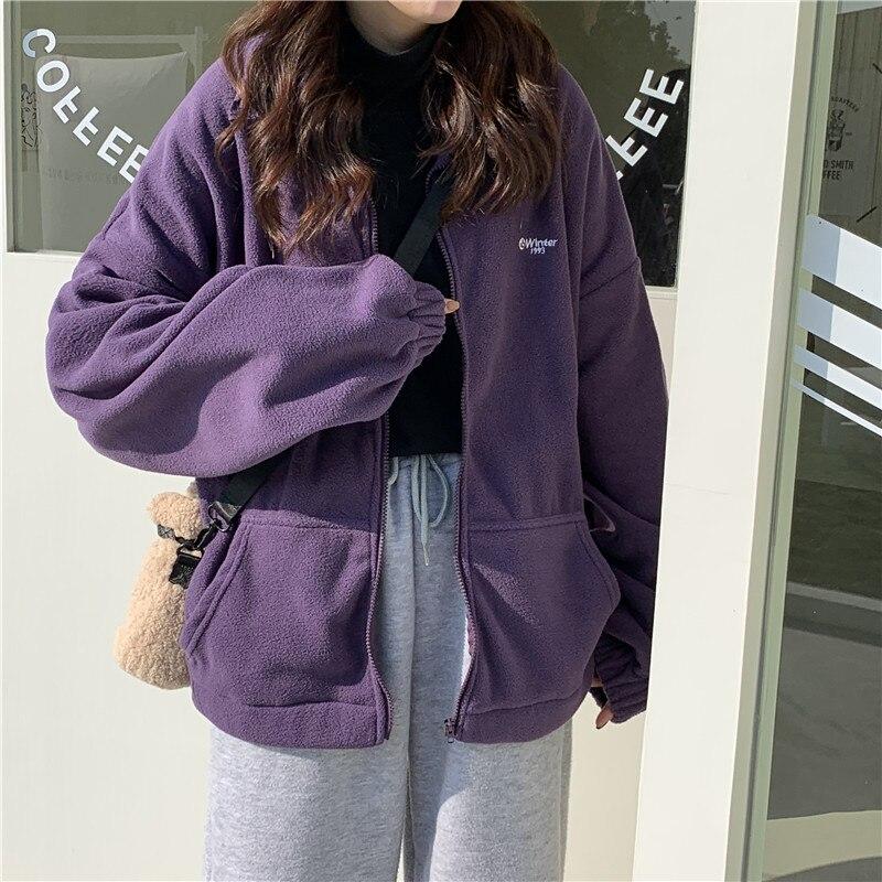 Hoodies Women Zip-up Turn-down Collar Printed Pocket Long Sleeve Korean Style New Trendy Casual BF Ulzzang Harajuku Womens Daily 3