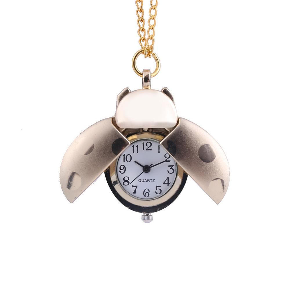 European And American Jewelry Creative Small Seven-Star Ladybug Pocket Watch Table Commemorative Necklace Clock Jewelry Gift Q