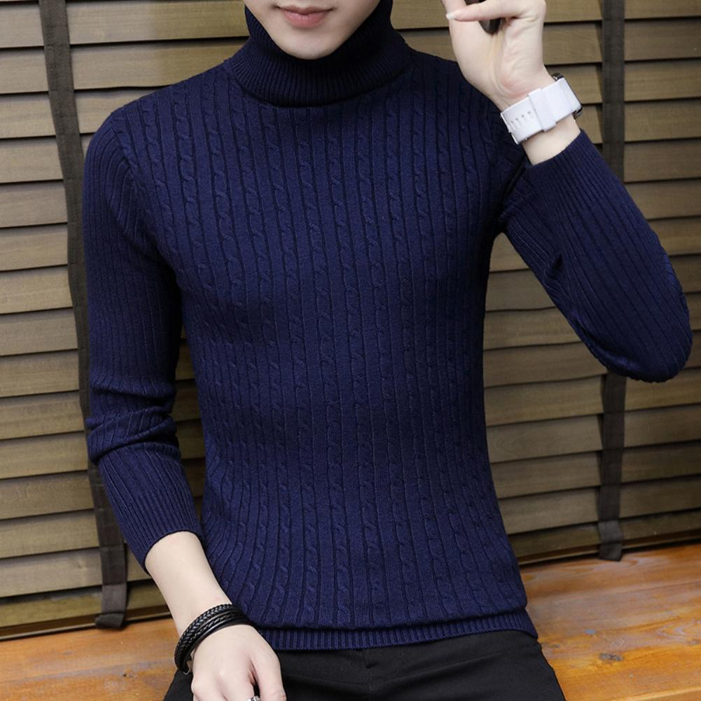 2019 High Quality Warm Turtleneck Sweater Men Solid Knitted Mens Sweaters Casual Slim Pullover Male Double Collar