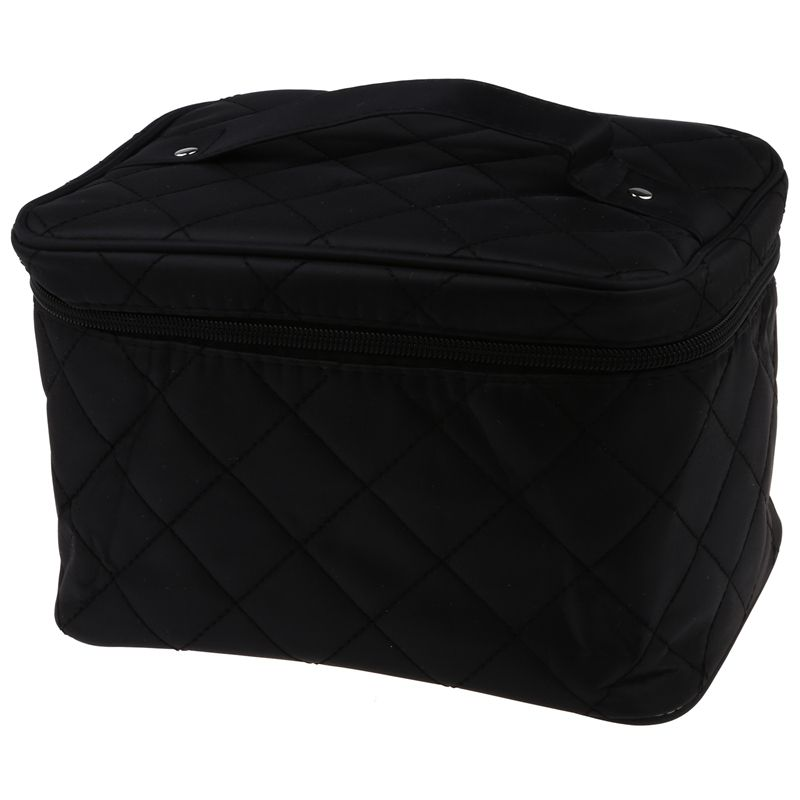 New Zipper Cosmetic Storage Make Up Bag Handle Train Case Purse-M Black