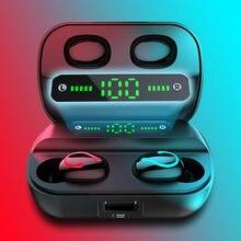 Q61 tws bluetooth 5.0 fones de ouvido estéreo sem fio esporte à prova dwaterproof água com charing caso led power display