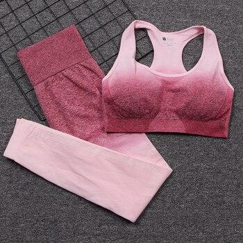 Conjunto de Yoga sin costuras para mujer, conjunto de gimnasio, ropa de entrenamiento, ropa deportiva, traje deportivo, Ombre, sujetador deportivo y Leggings de cintura alta