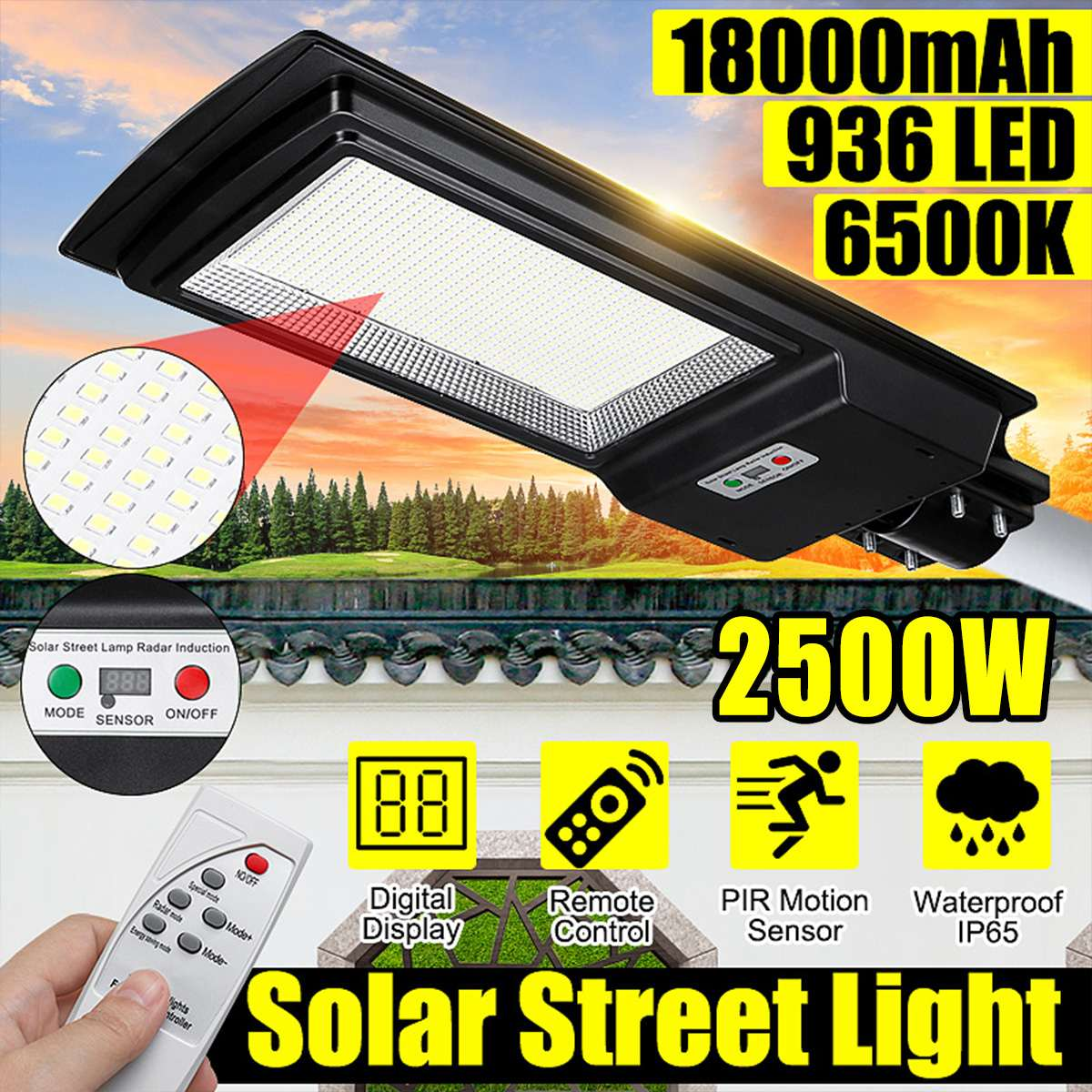 2500W Digital Display LED Solar Street Light IP65 936 LED Light Radar Motion Sensor Wall Timing Lamp+Remote For  Garden Outdoor