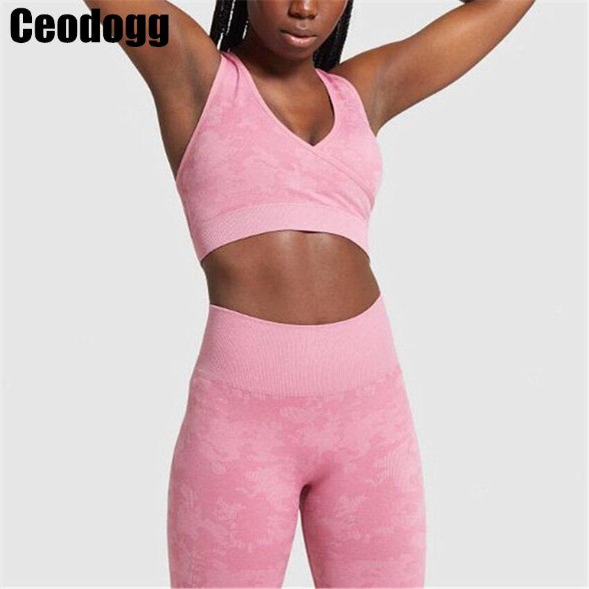 Conjunto de Yoga Sutiã de Fitness Esportivo sem Costura Ternos de Fitness Camuflagem Mulheres Yoga Sutiã Cintura Alta Ginásio Camo Leggings Pants Treino 2 Pçs – Set