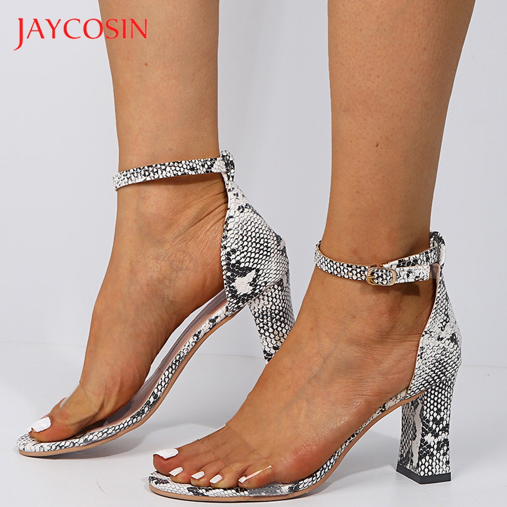 JAYCOSIN 2020 High Heels Women High Heels Fashion One Band Belt Buckle Snakeskin Sandals Ladies Shoes Sandals Women Shoes Woman 1