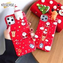 KISSCASE عيد الميلاد ثلاثية الأبعاد ثلج الهاتف حقيبة لهاتف أي فون 11 برو ماكس 11 حالة السنة الجديدة الحال بالنسبة XR XS ماكس X 6 6S 7 8 Plus غطاء Coque