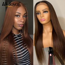 Straight Human Hair Wigs For Women Brown Color Straight 4X4 Lace Closure wig pre plucked 13x1 Lace Wig Brazillian wig Ali Joyce