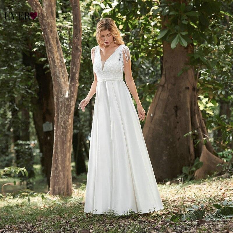 Wedding Dresses For Women Ever Pretty New Elegant A Line V Neck Sleeveless Tassel Grid Wedding Gowns Robe Satin Longue EP00313CR