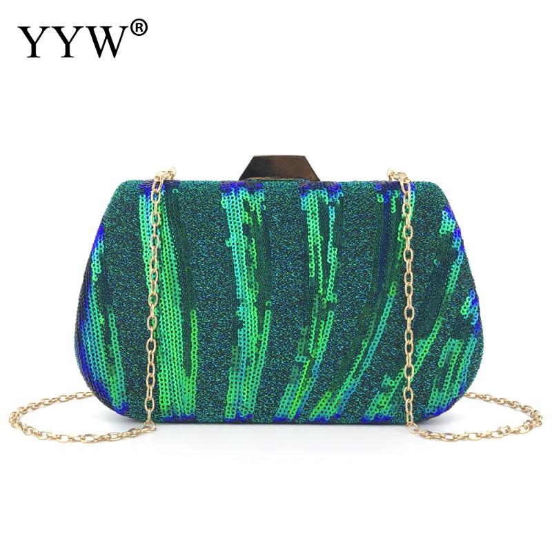 Sequin Clutch Bag Banquet Glitter Dinner Purse With Chain Bag For Crossbody 2020 Green Evening Party Hard-Surface Women Clutches