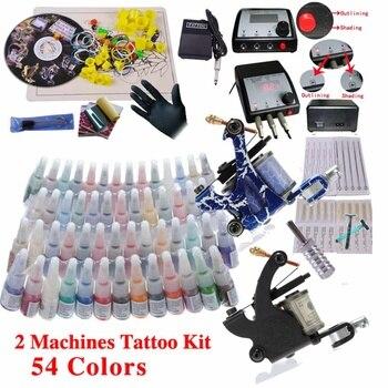 Professional Tattoo Kit Two Tattoo Machine Guns Power Supply 54 Colors Pigment Inks sets Body Art Permanent Makeup Tattoo Set