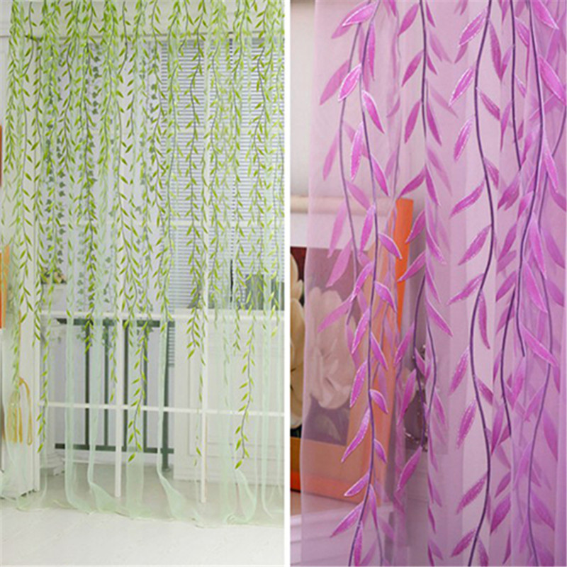 Home Tree Glass Yarn Willow Curtain Tulle Valances Rod Room Decor Curtain Sheer Panel Drapes Curtains On The Window