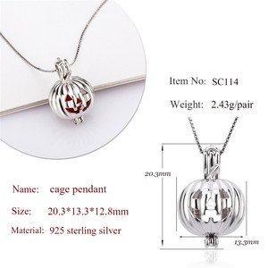 Image 2 - CLUCI 3pcs Silver Scary Pumpkin Design Pendant for Halloween 925 Sterling Silver Pearl Locket Cage Pendant SC114SB