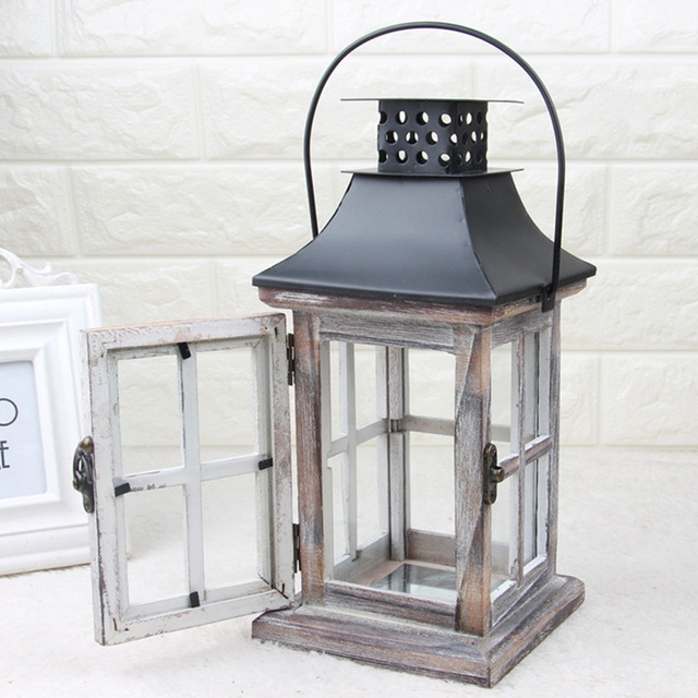 Handmade Vintage Lantern Hanging Exquisite Home European Style Gift Wood Metal Wedding Candle Holder With Handle Decoration 1