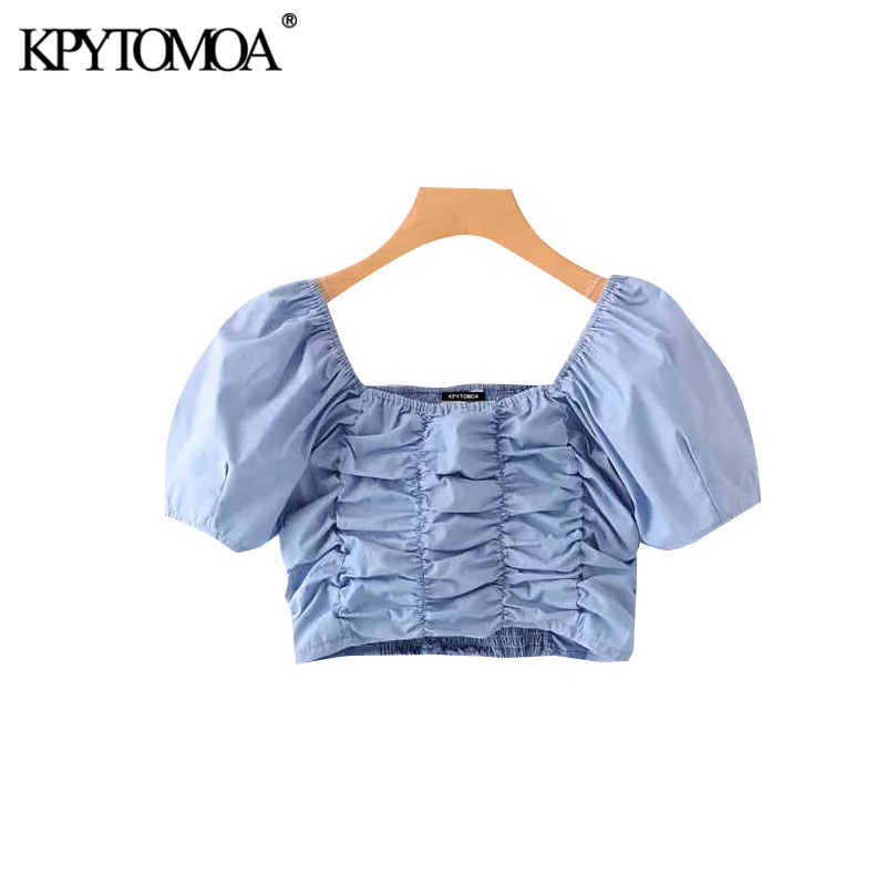 KPYTOMOA Women 2020 Sexy Fashion Solid Cropped Blouses Vintage Square Collar Short Sleeve Stretch Slim Female Shirts Chic Tops