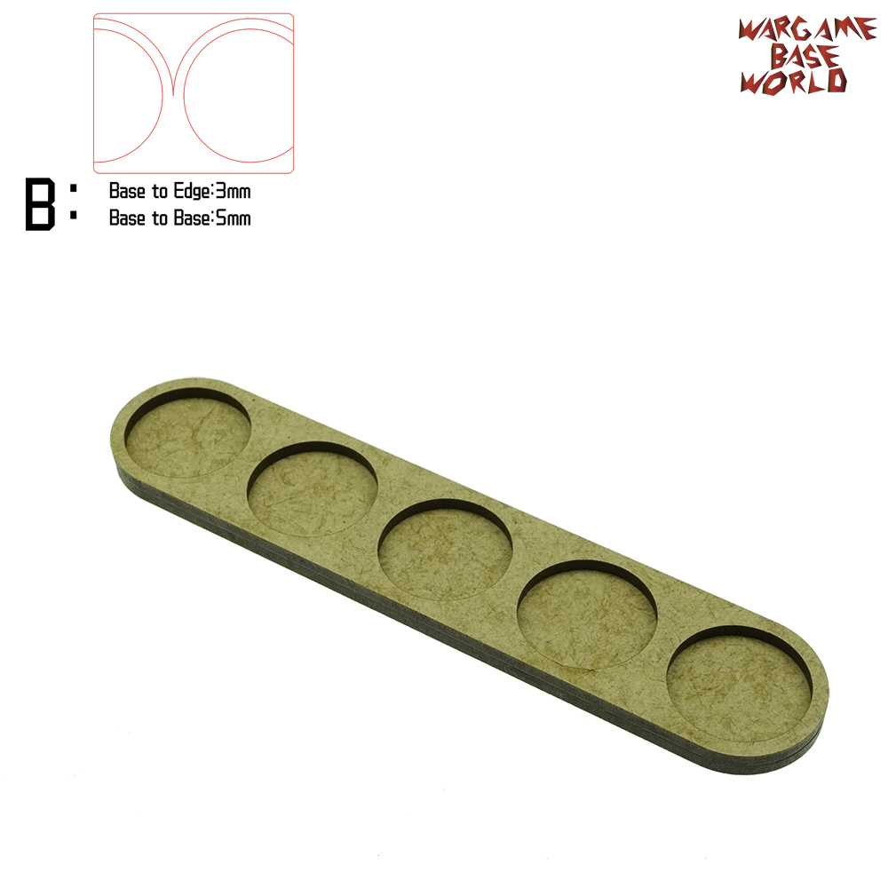 Wargame Base World - Movement Tray - 5 Round 25mm - Single Line Shape MDF