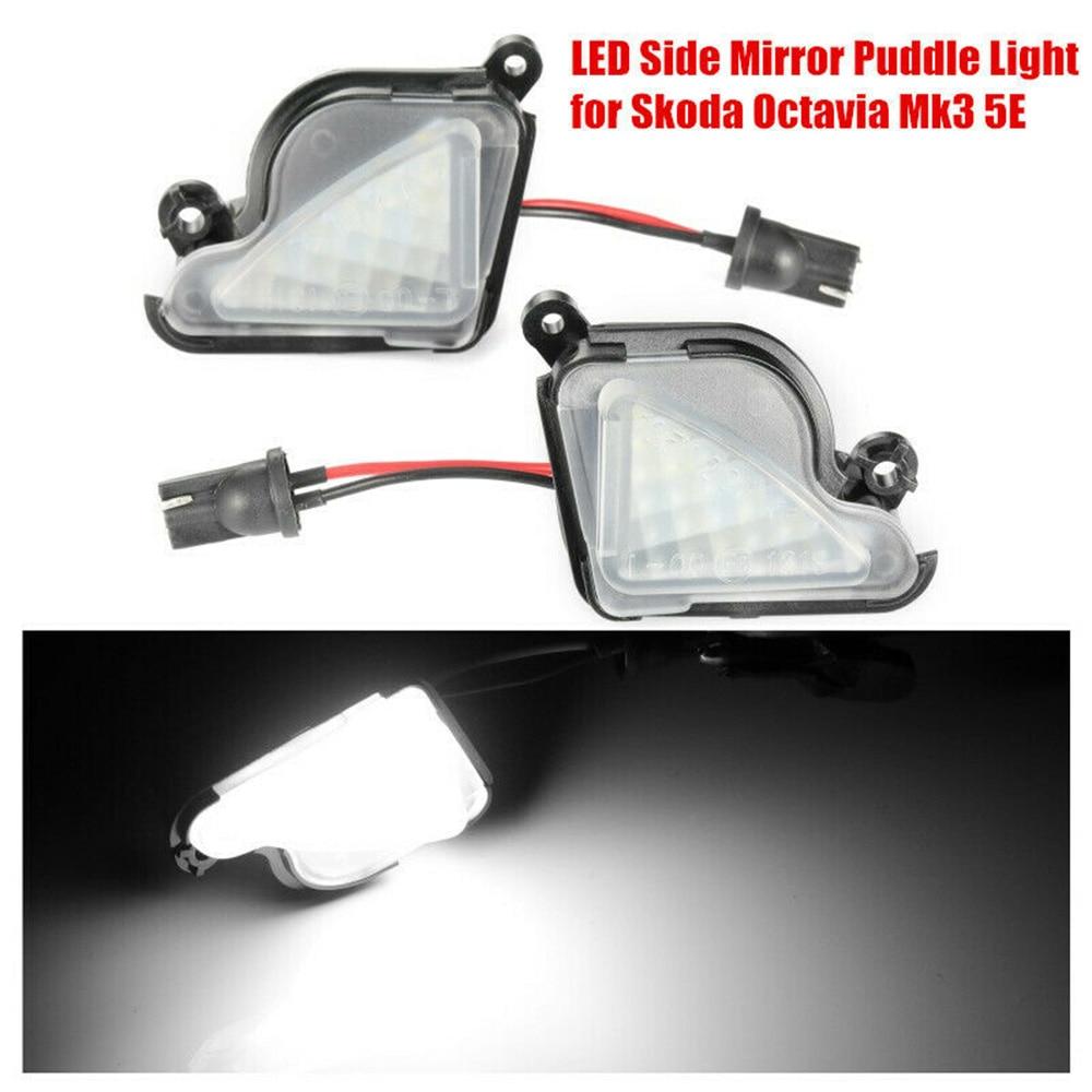 2pcs 12V Car LED Side Mirror Puddle Light Halogen Lamp Error Free 6000K White For Skoda Superb Octavia Mk3 5E Phase II