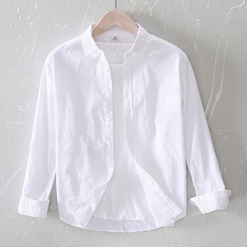 2020 New Arrival Spring And Summer White Cotton Shirt Men Brand Long Sleelve Shirts For Men Casual Fashion Shirt Mens Chemise