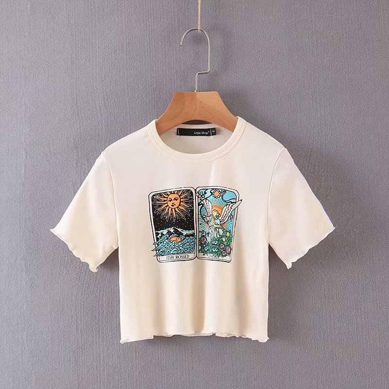 Linjiashop Kartu Tarot Lengan Pendek Dipotong Selada Hem Seksi Musim Panas T-shirt untuk Anak Perempuan O-Leher Grafis Pullovers