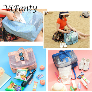 Image 5 - Beach Bag   Toy Tote Bag, Mesh Beach Bag, Large Lightweight Grocery, Market & Picnic Tote with Oversized Pocket
