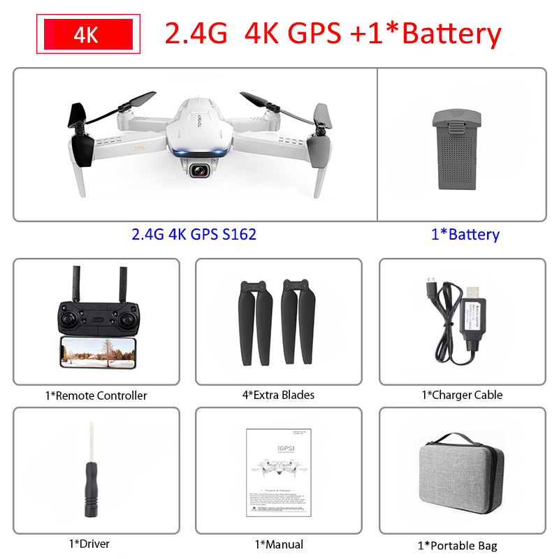 S162 RC Drone with Camera 4K Drone Adjustable Wide Angle 5G WIFI GPS Gesture FPV RC Quadcopter Dron Follow Me VS XS812 SG907