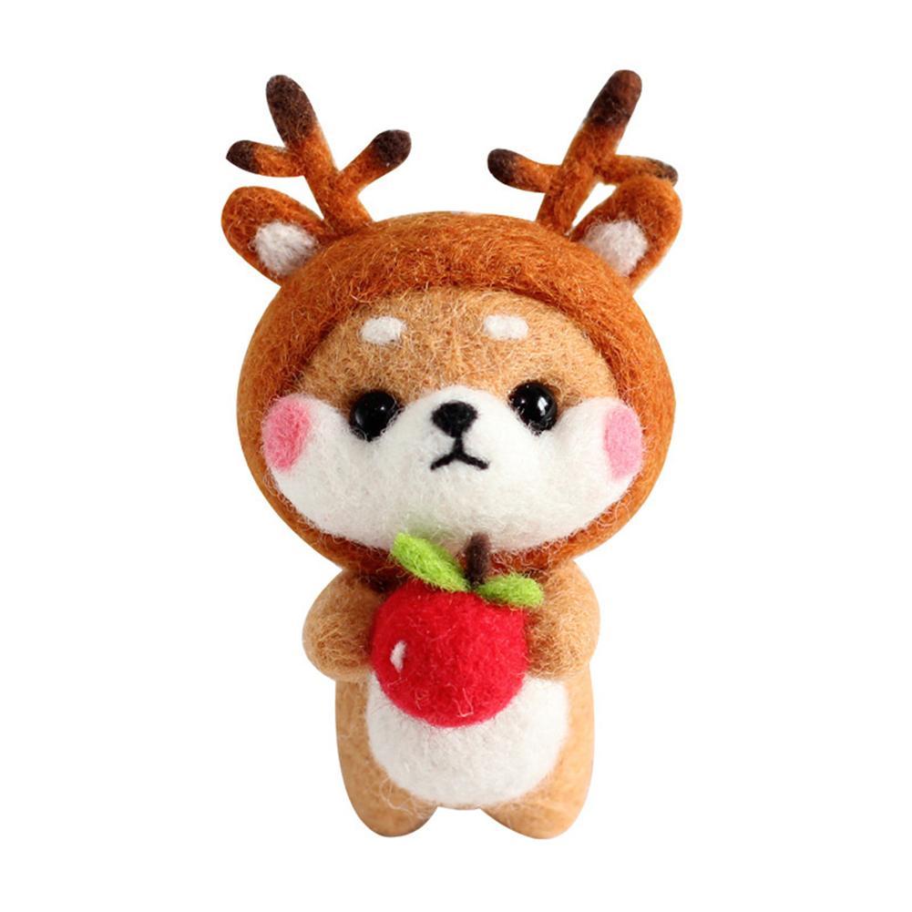 Fashion Custom Dog Deer Sliding Doll Wool Felt Craft DIY Poked Set Handcraft Kit For Needle Material Bag Pack